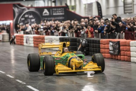 Nigel Mansell on The Grand Avenue at The London Classic Car Show 2018